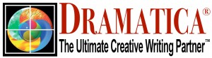 "Logo of Dramatica, left vector image of colorful parts in a circle with black square background. On right read, ""Dramatica"" in all caps and red. Below the name is the tagline in black, ""The Ultimate Creative Writing Partner"""
