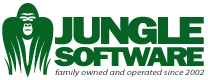 Jungle Software logo in green, all caps. On left is an abstract figure of gorilla with face and tall grass looking forward.