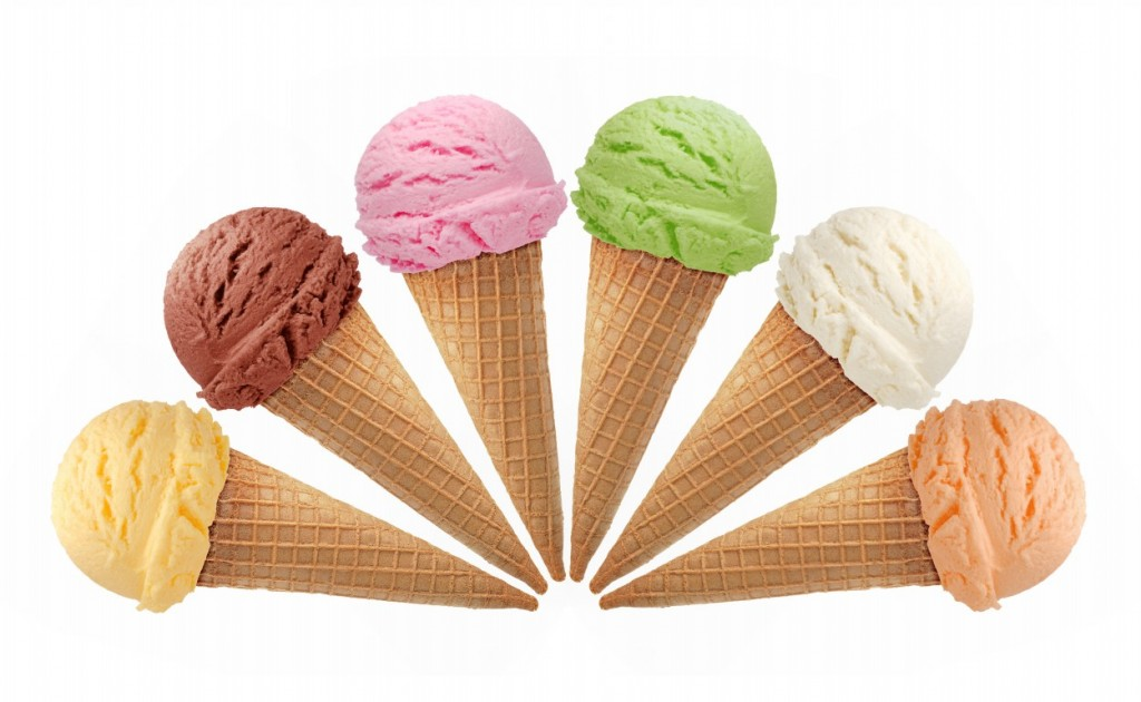 Six cones of different flavored ice creams in shape of semi circle.