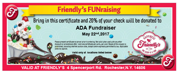 fundraiser voucher for friendly's for May 22nd. 20% of your meal will go to support CDR!