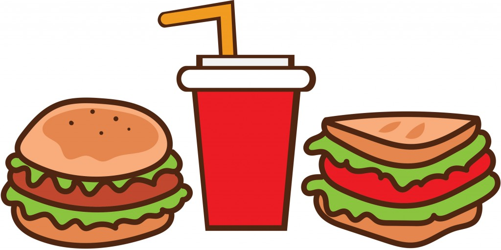 illustration of burger, drink, and sandwich