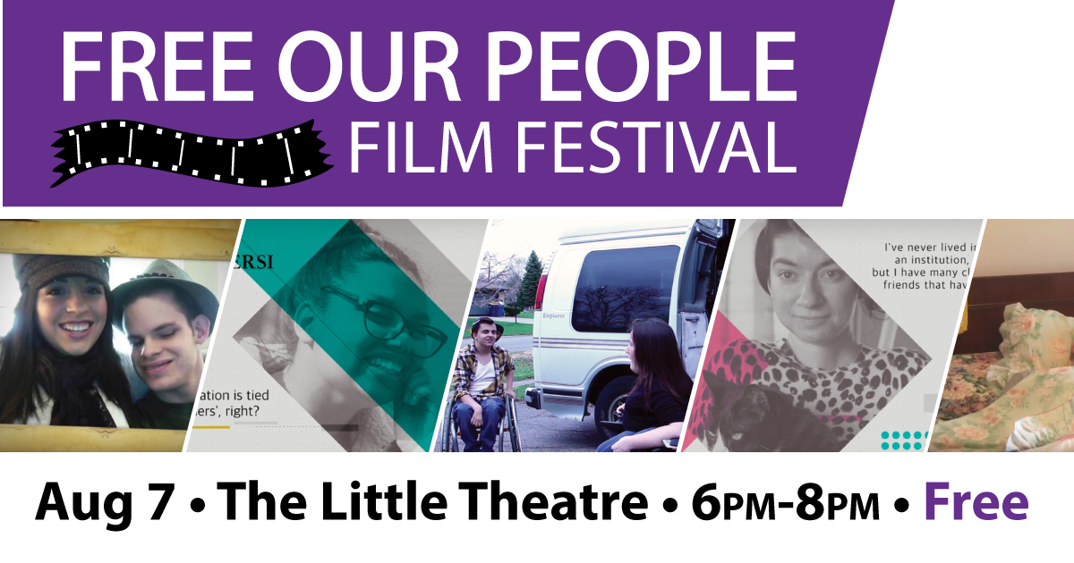 Purple bar with white text stating the name of the festival with black illustration of film strip. Center show cropped photos of movies. Bottom text in black states the date, time, free location of the event.