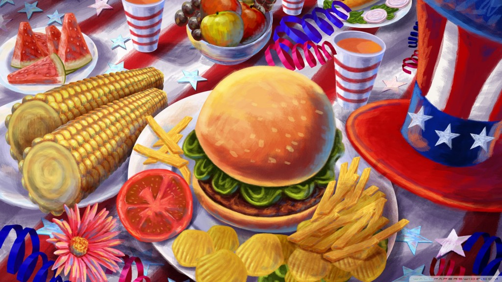 illustration of hamburger, chips, corn, vegetables, and red,blue,white hat, decoration.