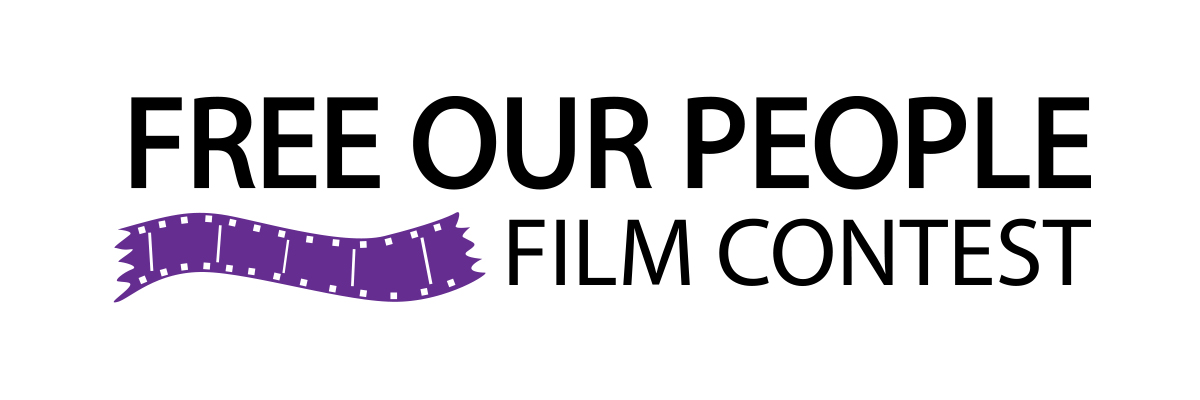 "Logo of Free Our People Film Contest. Black ""FREE OUR PEOPLE"" in all caps on top. Below right is smaller black ""Film Contest"" in all caps. On lower left is a graphic of purple film strip."